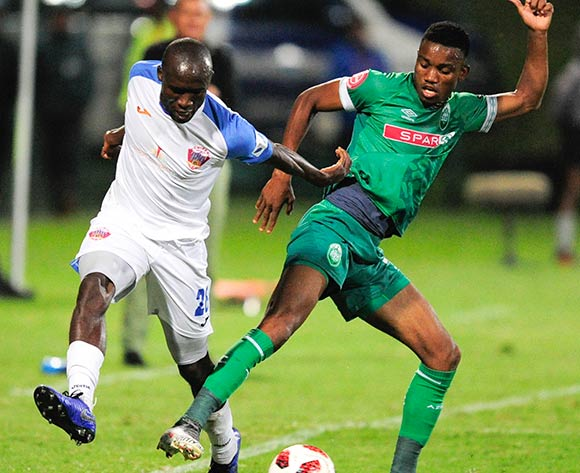 Donashano Malama of Chippa United F.C. challenges Ovidy Karuru of AmaZulu FC during the Absa Premiership 2018/19 game between AmaZulu and Chippa United at King Zwelithini Stadium on 6 April 2019 © Gerhard Duraan/BackpagePix
