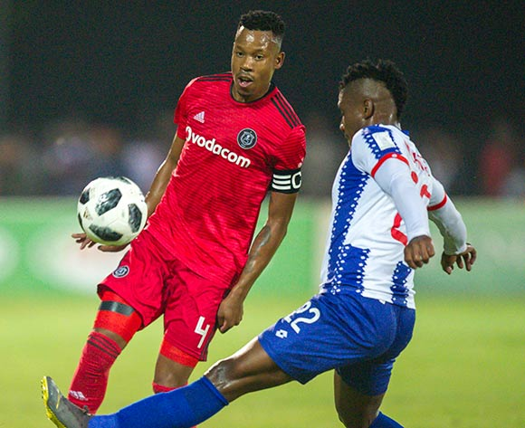 Mohau Mokate of Maritzburg United is to late to prevent the pass from Happy Jele, Captain of Orlando Pirates during the Absa Premiership 2018/19 game between Maritzburg United and Orlando Pirates at Harry Gwala Stadium in Pietermaritzburg on 24 April 2019 © Gerhard Duraan/BackpagePix