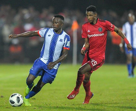 Vincent Pule of Orlando Pirates puts pressure on Siphesihle Ndlovu of Maritzburg United during the Absa Premiership 2018/19 game between Maritzburg United and Orlando Pirates at Harry Gwala Stadium in Pietermaritzburg on 24 April 2019 © Gerhard Duraan/BackpagePix