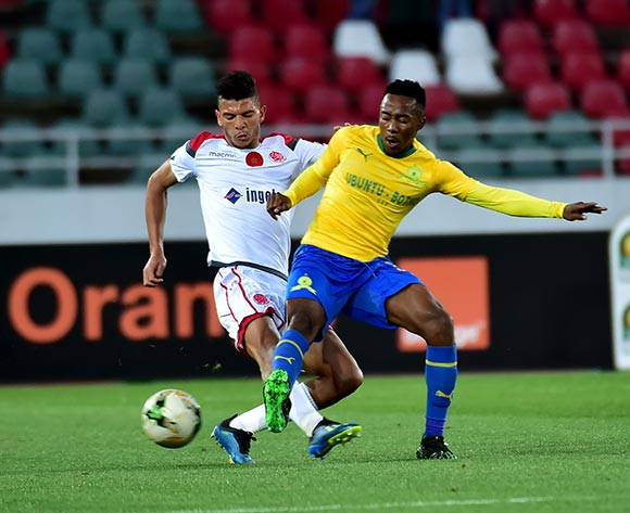 Lebohang Maboe of Mamelodi Sundowns gets his pass away during the 2019 TOTAL CAF Champions League match between Mamelodi Sundowns and Wydad Athletic Club at Prince Moulay Abdellah Stadium in Rabat, Morocco, 26 April 2019. EPA/STR.