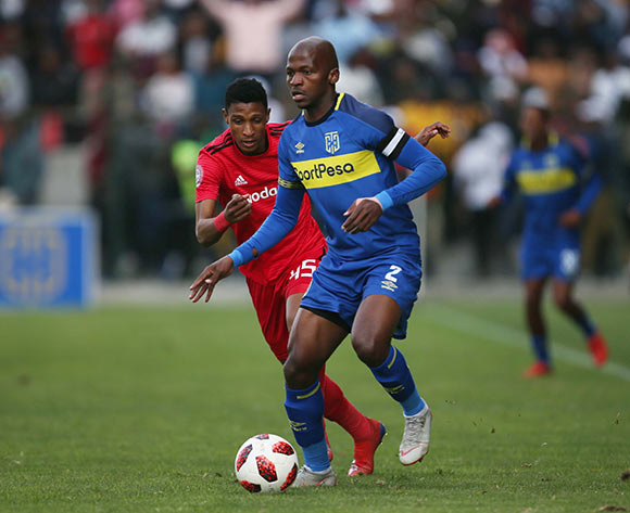 Vincent Pule of Orlando Pirates and Thami Mkhize of Cape Town City during the Absa Premiership 2018/19 game between Cape Town City and Orlando Pirates at Athlone Stadium in Cape Town on 4 May 2019 © Bertram Malgas/BackpagePix