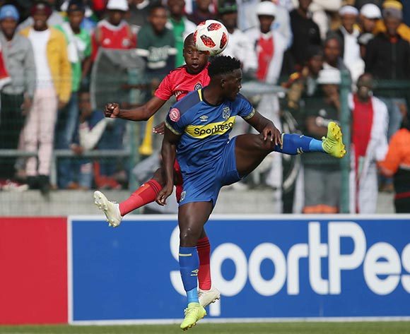 Ben Motshwari of Orlando Pirates and Siphelele Mthembu of Cape Town City during the Absa Premiership 2018/19 game between Cape Town City and Orlando Pirates at Athlone Stadium in Cape Town on 4 May 2019 © Bertram Malgas/BackpagePix