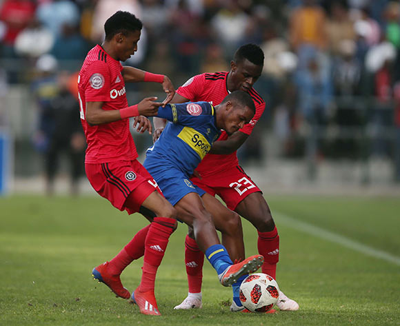 Craig Martin of Cape Town City and Innocent Maela and Vincent Pule of Orlando Pirates during the Absa Premiership 2018/19 game between Cape Town City and Orlando Pirates at Athlone Stadium in Cape Town on 4 May 2019 © Bertram Malgas/BackpagePix