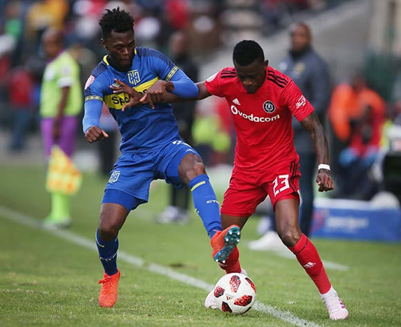 Thato Mokeke of Cape Town City and Innocent Maela of Orlando Pirates during the Absa Premiership 2018/19 game between Cape Town City and Orlando Pirates at Athlone Stadium in Cape Town on 4 May 2019 © Bertram Malgas/BackpagePix