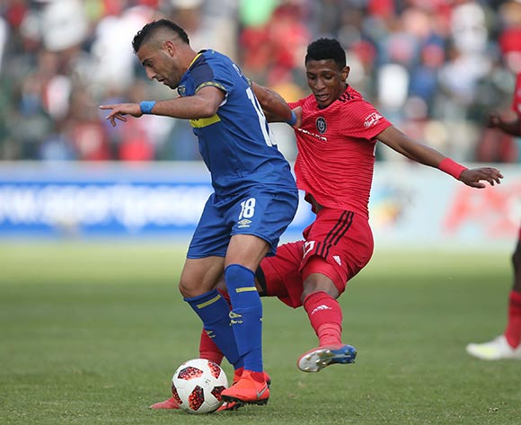 Chris David of Cape Town City and Vincent Pule of Orlando Pirates during the Absa Premiership 2018/19 game between Cape Town City and Orlando Pirates at Athlone Stadium in Cape Town on 4 May 2019 © Bertram Malgas/BackpagePix