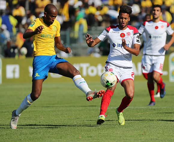 Mosa Lebusa of Sundowns clears ball away from Zouhair El Moutaraji of Wydad during the 2018/19 CAF Champions League football match between Sundowns and Wydad Casablanca at Lucas Moripe Stadium, Pretoria on 04 May 2019 ©Gavin Barker/BackpagePix