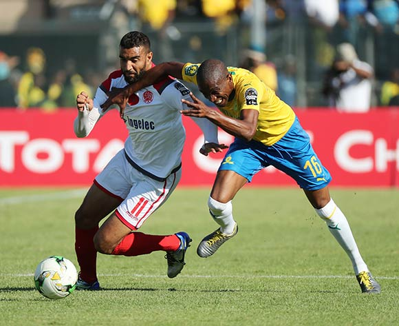 Ismail El Haddad of Wydad challenged by Anele Ngcongca of Sundowns  during the 2018/19 CAF Champions League football match between Sundowns and Wydad Casablanca at Lucas Moripe Stadium, Pretoria on 04 May 2019 ©Gavin Barker/BackpagePix