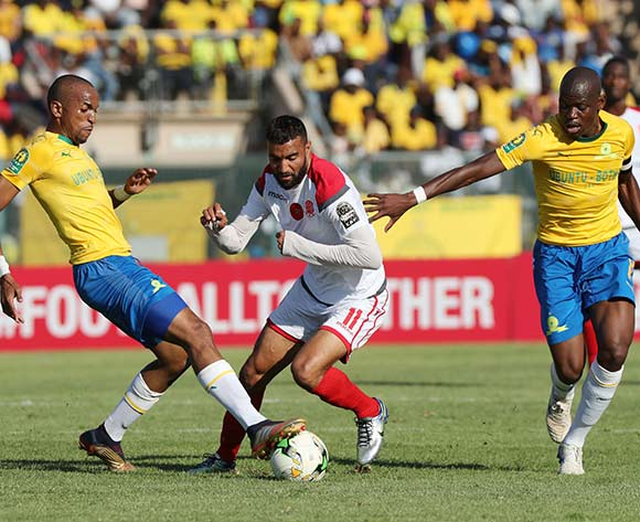 Ismail El Haddad of Wydad tackled by Tiyani Mabunda of Sundowns during the 2018/19 CAF Champions League football match between Sundowns and Wydad Casablanca at Lucas Moripe Stadium, Pretoria on 04 May 2019 ©Gavin Barker/BackpagePix