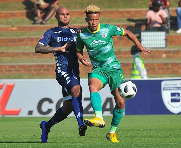 Robyn Johannes of Bidvest Wits challenges Jemondre Dickens of Baroka FC during the Absa Premiership match between Bidvest Wits and Baroka FC on the 4 of May 2019 at Bidvest Stadium Pic Sydney Mahlangu/ BackpagePix