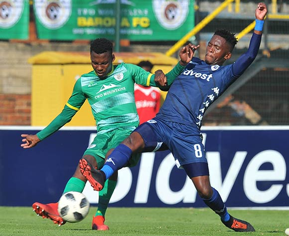 Thabang Monare of Bidvest Wits is challenges Thato Madigoe of Baroka FC during the Absa Premiership match between Bidvest Wits and Baroka FC on the 4 of May 2019 at Bidvest Stadium Pic Sydney Mahlangu/ BackpagePix