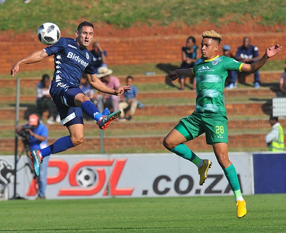 Cole Alexander of Bidvest Wits challenges Jemondre Dickens of Baroka FC during the Absa Premiership match between Bidvest Wits and Baroka FC on the 4 of May 2019 at Bidvest Stadium Pic Sydney Mahlangu/ BackpagePix