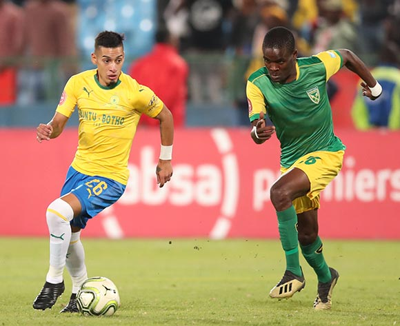 Gaston Sirino of Mamelodi Sundowns challenged by Danny Phiri of Golden Arrows during the Absa Premiership 2018/19 match between Mamelodi Sundowns and Golden Arrows at Loftus Versfeld Stadium, Pretoria on 07 May 2019 ©Samuel Shivambu/BackpagePix