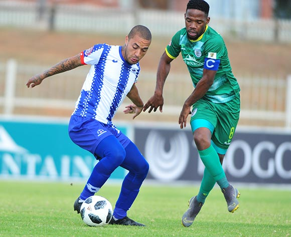 Miquel Timm of Maritzburg United and Mdududzi Mdantsane of Baroka FC during the Absa Premiership 2018/19 game between Baroka FC and Maritzburg United at Peter Mokaba Stadium in Limpopo the on 11 May 2019 © Kabelo Leputu/BackpagePix
