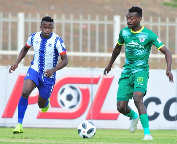Tshidiso Patjie of Baroka  FC and Siphesihle Ndlovu of Maritzburg United during the Absa Premiership 2018/19 game between Baroka FC and Maritzburg United at Peter Mokaba Stadium in Limpopo the on 11 May 2019 © Kabelo Leputu/BackpagePix