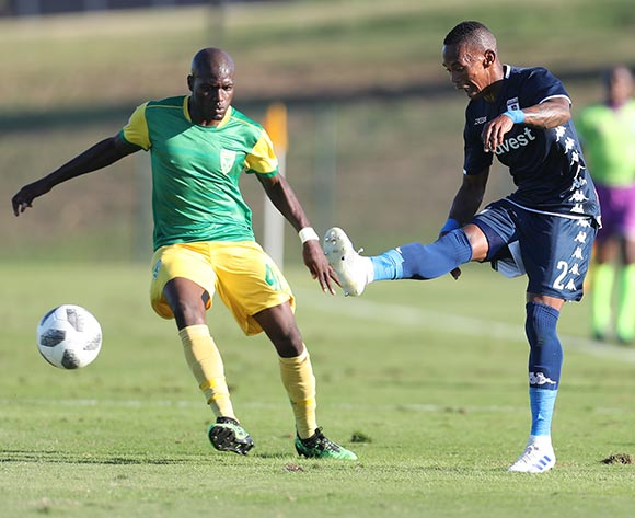 Vuyo Mere of Bidvest Wits and Lerato Lamola of Golden Arrows during the Absa Premiership 2018/19 game between Golden Arrows and Bidvest Wits at Sugar Ray Xulu Stadium in Durban on 11 May 2019 © Howard Cleland/BackpagePix