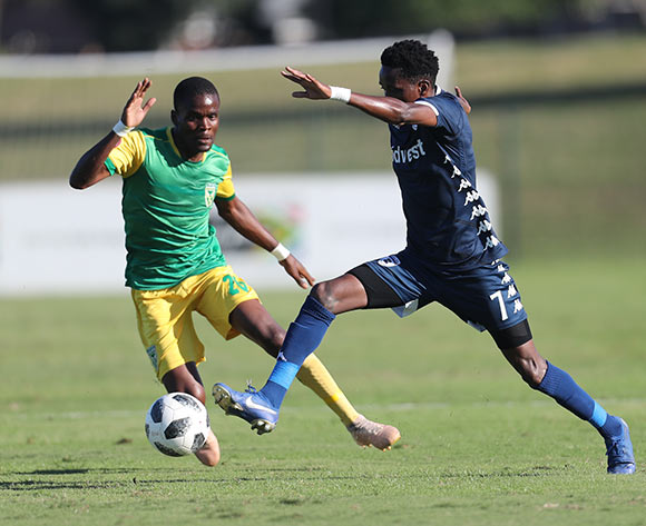 Elias Pelembe of Bidvest Wits and Danny Phiri of Golden Arrows during the Absa Premiership 2018/19 game between Golden Arrows and Bidvest Wits at Sugar Ray Xulu Stadium in Durban on 11 May 2019 © Howard Cleland/BackpagePix