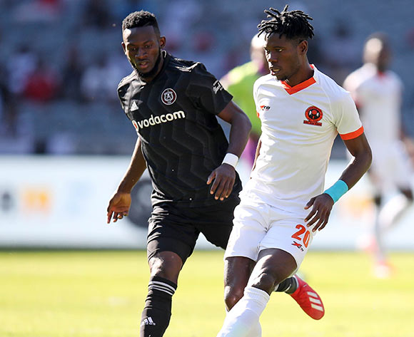 Salulani Phiri of Polokwane City challenged by Augustine Mulenga of Orlando Pirates during the Absa Premiership 2018/19 match between Orlando Pirates and Polokwane City at the Orlando Stadium, Soweto on the 11 May 2019 ©Muzi Ntombela/BackpagePix