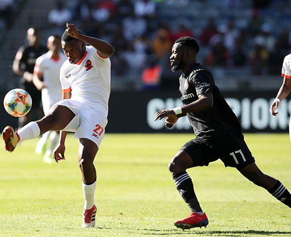 Thobani Mncwango of Polokwane City clears ball from Augustine Mulenga of Orlando Pirates during the Absa Premiership 2018/19 match between Orlando Pirates and Polokwane City at the Orlando Stadium, Soweto on the 11 May 2019 ©Muzi Ntombela/BackpagePix