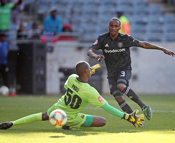 Thembinkosi Lorch of Orlando Pirates scores a goal against Lehlohonolo Phali of Polokwane City during the Absa Premiership 2018/19 match between Orlando Pirates and Polokwane City at the Orlando Stadium, Soweto on the 11 May 2019 ©Muzi Ntombela/BackpagePix