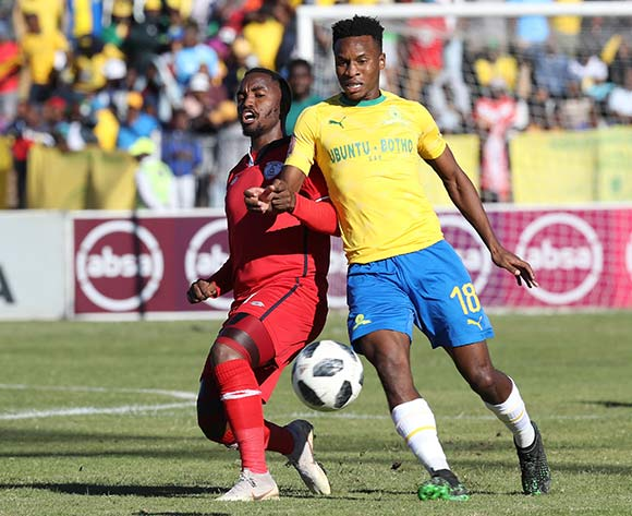 Themba Zwane of Mamelodi Sundowns challenged by Patrick Phungwayo of Free State Stars during the Absa Premiership 2018/19 match between Free State Stars and Mamelodi Sundowns at Goble Park Stadium, Bethlehem on 11 May 2019 ©Samuel Shivambu/BackpagePix