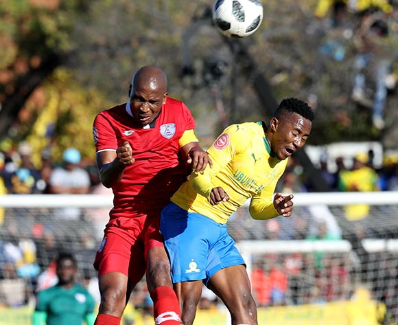Lebohang Maboe of Mamelodi Sundowns challenged by Paulus Masehe of Free State Stars during the Absa Premiership 2018/19 match between Free State Stars and Mamelodi Sundowns at Goble Park Stadium, Bethlehem on 11 May 2019 ©Samuel Shivambu/BackpagePix
