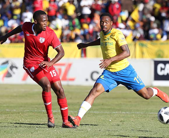 Katlego Mokhuoane of Free State Stars challenged by Sibusiso Vilakazi of Mamelodi Sundowns during the Absa Premiership 2018/19 match between Free State Stars and Mamelodi Sundowns at Goble Park Stadium, Bethlehem on 11 May 2019 ©Samuel Shivambu/BackpagePix