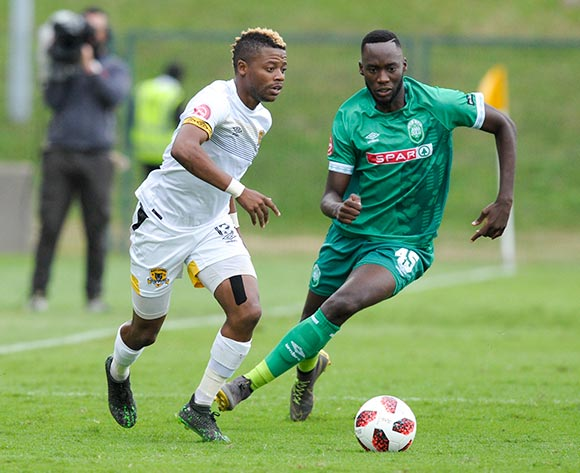Somila Ntsundwana of AmaZulu FC challenges Pentjie Zulu of Black Leopards FC during the Absa Premiership 2018/19 game between AmaZulu and Black Leopards at King Zwelithini Stadium in Durban on 4 May 2019 © Gerhard Duraan/BackpagePix