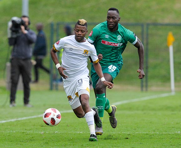 Somila Ntsundwana of AmaZulu FC challenges Tshwarelo Bereng of Black Leopards FC during the Absa Premiership 2018/19 game between AmaZulu and Black Leopards at King Zwelithini Stadium in Durban on 4 May 2019 © Gerhard Duraan/BackpagePix