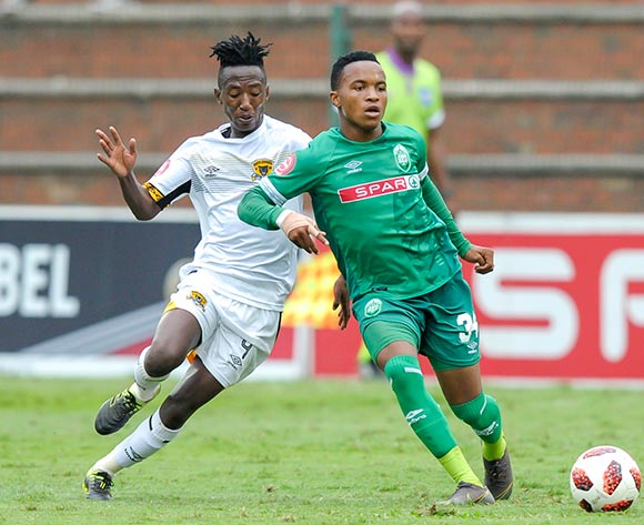 Tumelo khutlang of Black Leopards FC competes with Sphesihle Maduna of AmaZulu FC during the Absa Premiership 2018/19 game between AmaZulu and Black Leopards at King Zwelithini Stadium in Durban on 4 May 2019 © Gerhard Duraan/BackpagePix