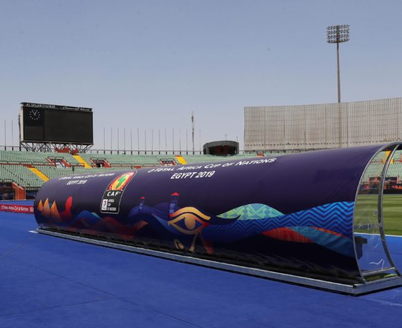 General View Stadium CAF Sponsor General Branding during the 2019 Africa Cup of Nations Finals football match between Morocco and Ivory Coast at the Al Salam Stadium, Cairo, Egypt on 28 June 2019 ©Gavin Barker/BackpagePix