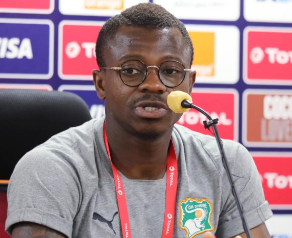 Jean Michael Seri addresses media during the 2019 Africa Cup of Nations Finals Ivory Coast Press Conference at the Al Salam Stadium, Cairo, Egypt on 27 June 2019 ©Gavin Barker/BackpagePix