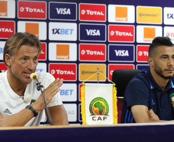 Coach Herve Renard adddresses media during the 2019 Africa Cup of Nations Finals Morocco Press Conference at the Al Salam Stadium, Cairo, Egypt on 27 June 2019 ©Gavin Barker/BackpagePix