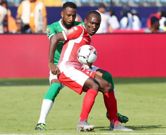 Amissi Cedric of Burundi challenged by Romain Metanire of Madagascar during the 2019 Africa Cup of Nations match between Madagascar and Burundi at the Alexandria Stadium, Alexandria on the 27 June 2019 ©Muzi Ntombela/BackpagePix