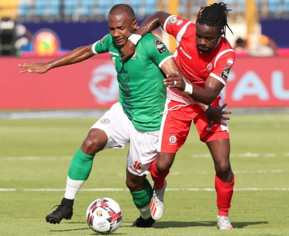 Ibrahim Samuel Amada of Madagascar challenged by Abdoul Fiston of Burundi during the 2019 Africa Cup of Nations match between Madagascar and Burundi at the Alexandria Stadium, Alexandria on the 27 June 2019 ©Muzi Ntombela/BackpagePix