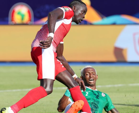Nduwarugira Christophe of Burundi shields Charles Carolus Andrea of Madagascar during the 2019 Africa Cup of Nations match between Madagascar and Burundi at the Alexandria Stadium, Alexandria on the 27 June 2019 ©Muzi Ntombela/BackpagePix