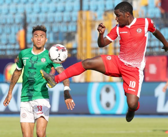 Shassiri Nahimana of Burundi challenged by Anicet Andrianantenaina of Madagascar during the 2019 Africa Cup of Nations match between Madagascar and Burundi at the Alexandria Stadium, Alexandria on the 27 June 2019 ©Muzi Ntombela/BackpagePix