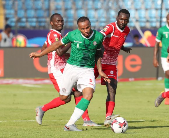 Marco Ilaiharitra of Madagascar challenged by Amissi Cedric (l) and Gael Duhayindavyi of Burundi during the 2019 Africa Cup of Nations match between Madagascar and Burundi at the Alexandria Stadium, Alexandria on the 27 June 2019 ©Muzi Ntombela/BackpagePix