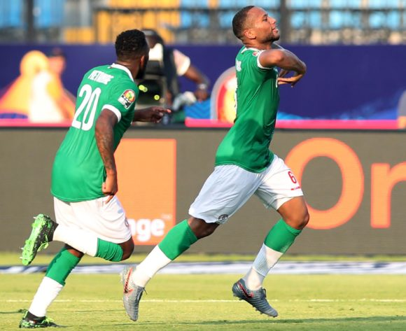 Marco Ilaiharitra of Madagascar celebrates goal with teammates during the 2019 Africa Cup of Nations match between Madagascar and Burundi at the Alexandria Stadium, Alexandria on the 27 June 2019 ©Muzi Ntombela/BackpagePix