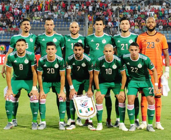 Algeria team picture (back row l-r) Baghdad Bounedjah, Djamel Benlamri, Adlane Guedioura, Aissa Mandi, Rami Bensebaini, Adi Mbolhi Rais (front row l-r) Mohamed Belaili, Youcef Atal, Riyad Mahrez, Sofiane Feghouli, Ismael Bennacer during the 2019 Africa Cup of Nations Finals match between Senegal and Algeria at 30 June Stadium, Cairo, Egypt on 27 June 2019 © Ryan Wilkisky/BackpagePix