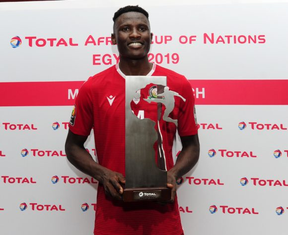 Michael Olunga of Kenya receives the Total Man of the Match award after the 2019 Africa Cup of Nations Finals match between Kenya and Tanzania at 30 June Stadium, Cairo, Egypt on 27 June 2019 © Ryan Wilkisky/BackpagePix