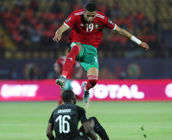 Youssef En-Nesyri of Morocco jumps over Sylvain Gbohouo of Ivory Coast during the 2019 Africa Cup of Nations Finals football match between Morocco and Ivory Coast at the Al Salam Stadium, Cairo, Egypt on 28 June 2019 ©Gavin Barker/BackpagePix