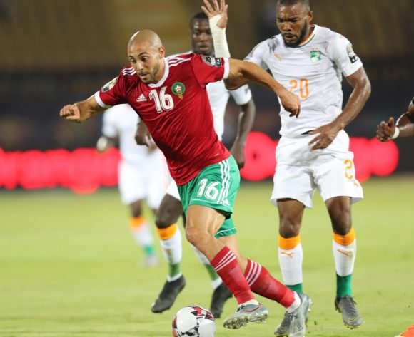Noureddine Amrabat of Morocco gets away from Geoffroy Die Serey of Ivory Coast during the 2019 Africa Cup of Nations Finals football match between Morocco and Ivory Coast at the Al Salam Stadium, Cairo, Egypt on 28 June 2019 ©Gavin Barker/BackpagePix