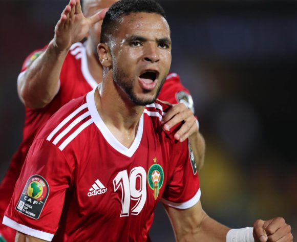 Youssef En-Nesyri of Morocco celebrates goal during the 2019 Africa Cup of Nations Finals football match between Morocco and Ivory Coast at the Al Salam Stadium, Cairo, Egypt on 28 June 2019 ©Gavin Barker/BackpagePix