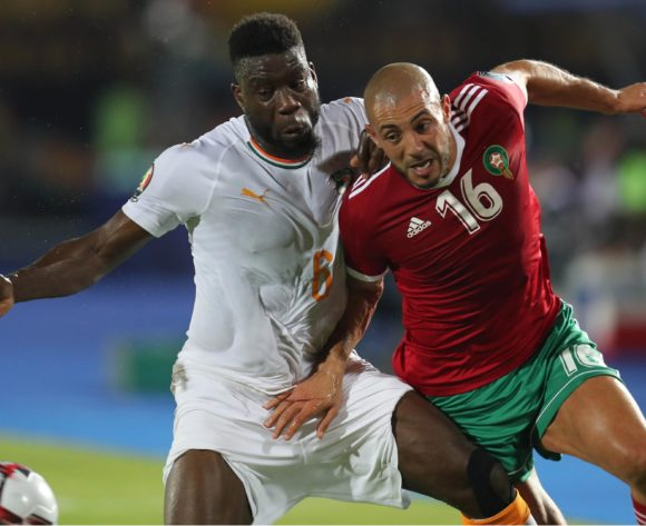 Noureddine Amrabat of Morocco (r) and Ismael Traore of Ivory Coast (l) challenge for ball during the 2019 Africa Cup of Nations Finals football match between Morocco and Ivory Coast at the Al Salam Stadium, Cairo, Egypt on 28 June 2019 ©Gavin Barker/BackpagePix