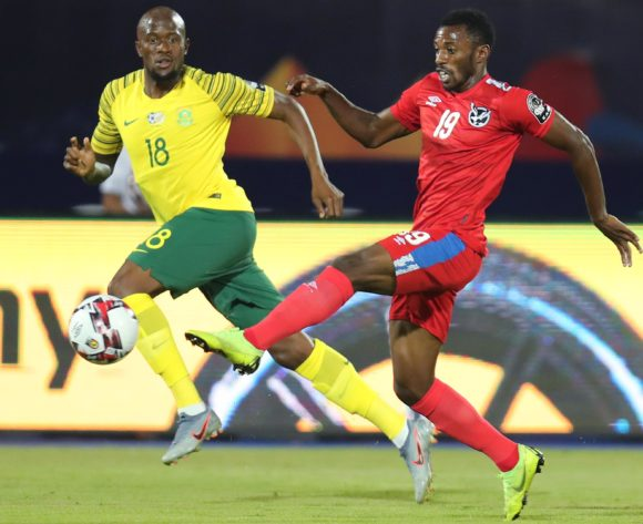 Petrus Shitembi of Namibia challenged by Sifiso Hlanti of South Africa during the 2019 Africa Cup of Nations Finals football match between South Africa and Namibia at the Al Salam Stadium, Cairo, Egypt on 28 June 2019 ©Gavin Barker/BackpagePix