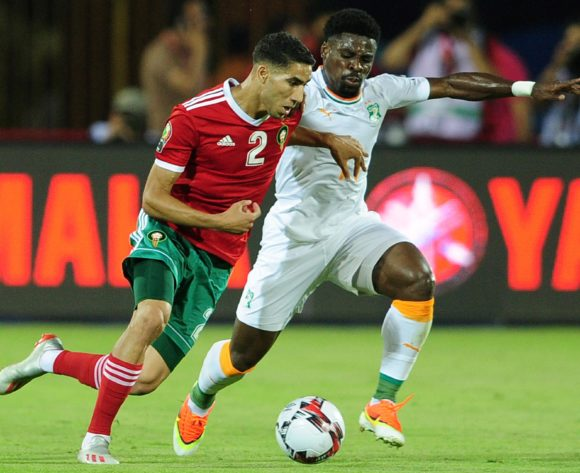 Achraf Hakimi of Morocco  takes on Serge Aurier of Ivory Coast during the 2019 Africa Cup of Nations Finals match between Morocco and Ivory Coast at Al Salam Stadium in Cairo, Egypt on 28 June 2019 © Ryan Wilkisky/BackpagePix
