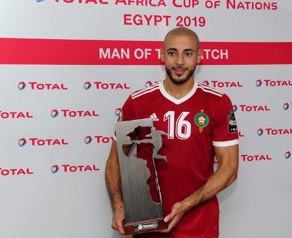 Noureddine Amrabat of Morocco receives the Total Man of the Match award after the 2019 Africa Cup of Nations Finals match between Morocco and Ivory Coast at Al Salam Stadium in Cairo, Egypt on 28 June 2019 © Ryan Wilkisky/BackpagePix