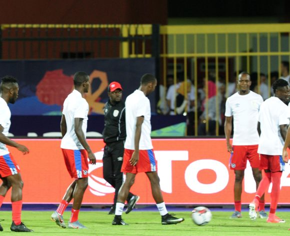General view of Namibia players warm up before the 2019 Africa Cup of Nations Finals match between South Africa and Namibia at Al Salam Stadium in Cairo, Egypt on 28 June 2019 © Ryan Wilkisky/BackpagePix