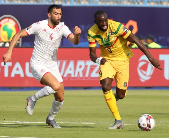 Moussa Marega of Mali challenged by Yassine Merriah of Tunisia during the 2019 Africa Cup of Nations Finals match between Tunisia and Mali at Suez Stadium, Suez, Egypt on 28 June 2019 ©Samuel Shivambu/BackpagePix