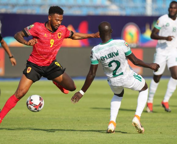 Alfredo Ribeiro Fredy of Angola tackled by El Mostapha Diaw of Mauritania during the 2019 Africa Cup of Nations Finals football match between Mauritania and Angola  at the Suez Stadium, Suez, Egypt on 29 June 2019 ©Gavin Barker/BackpagePix
